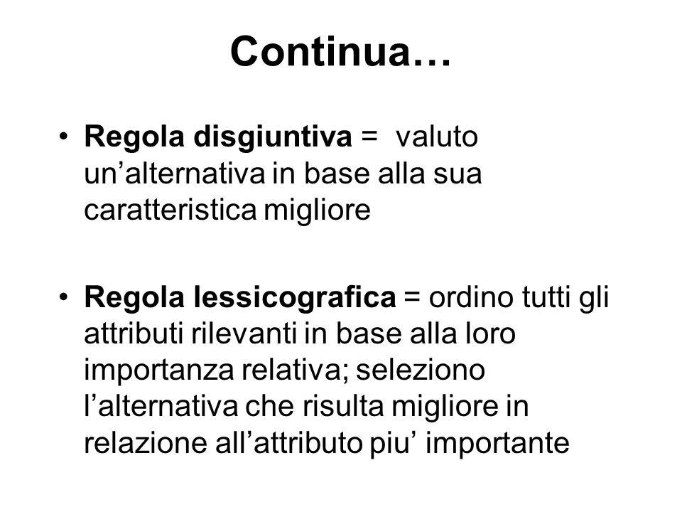 Continua… Regola disgiuntiva = valuto un'alternativa in base alla sua caratteristica migliore Regola lessicografica = ordino tutti gli attributi rilev