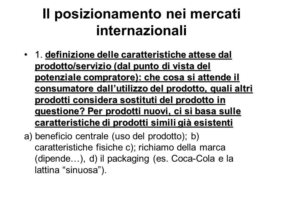 Il posizionamento nei mercati internazionali 1. definizione delle caratteristiche attese dal prodotto/servizio (dal punto di vista del potenziale comp