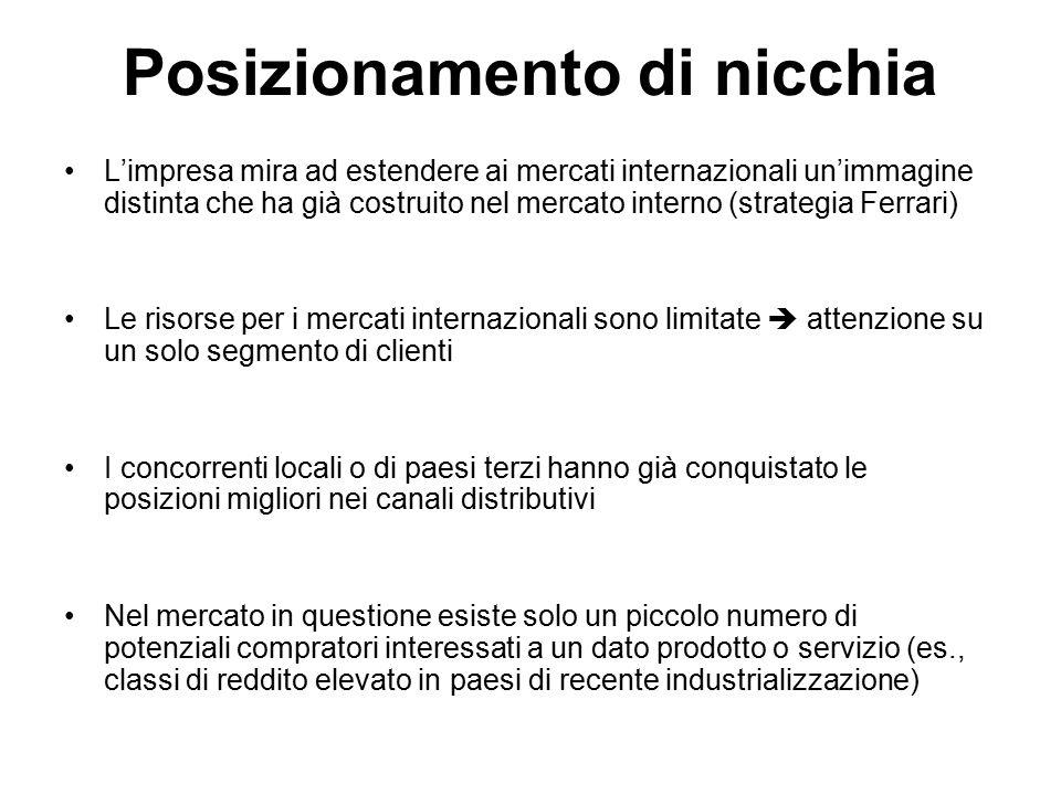 Posizionamento di nicchia L'impresa mira ad estendere ai mercati internazionali un'immagine distinta che ha già costruito nel mercato interno (strateg