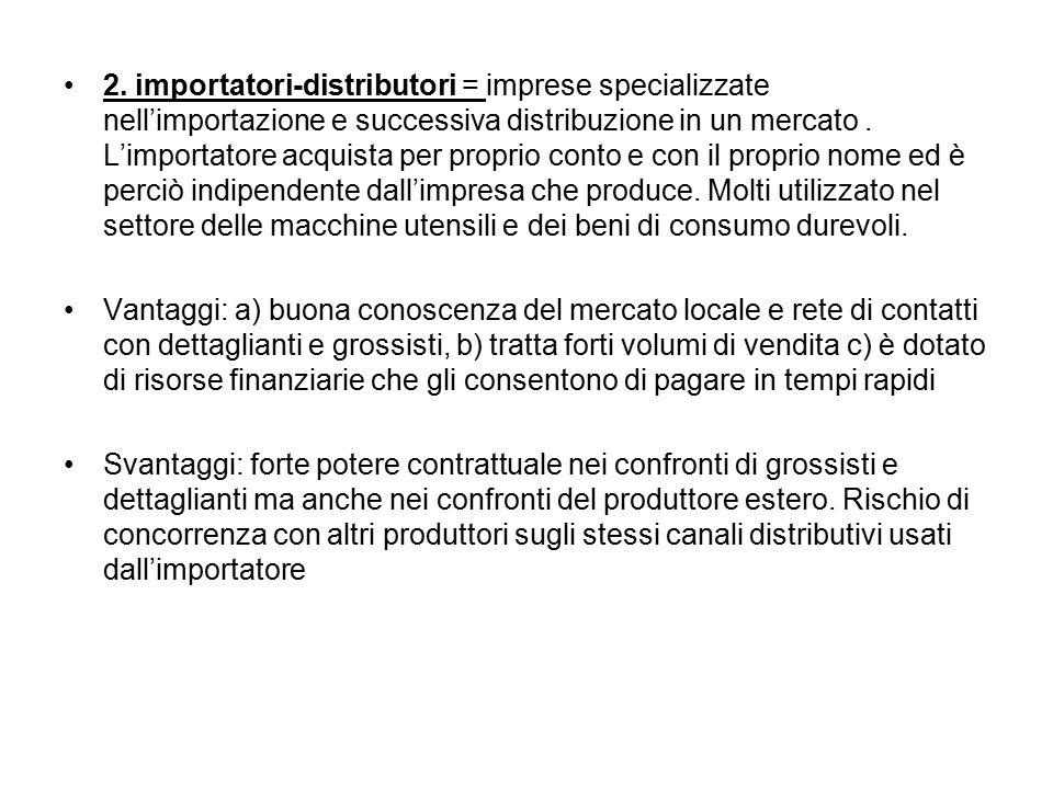 2. importatori-distributori = imprese specializzate nell'importazione e successiva distribuzione in un mercato. L'importatore acquista per proprio con