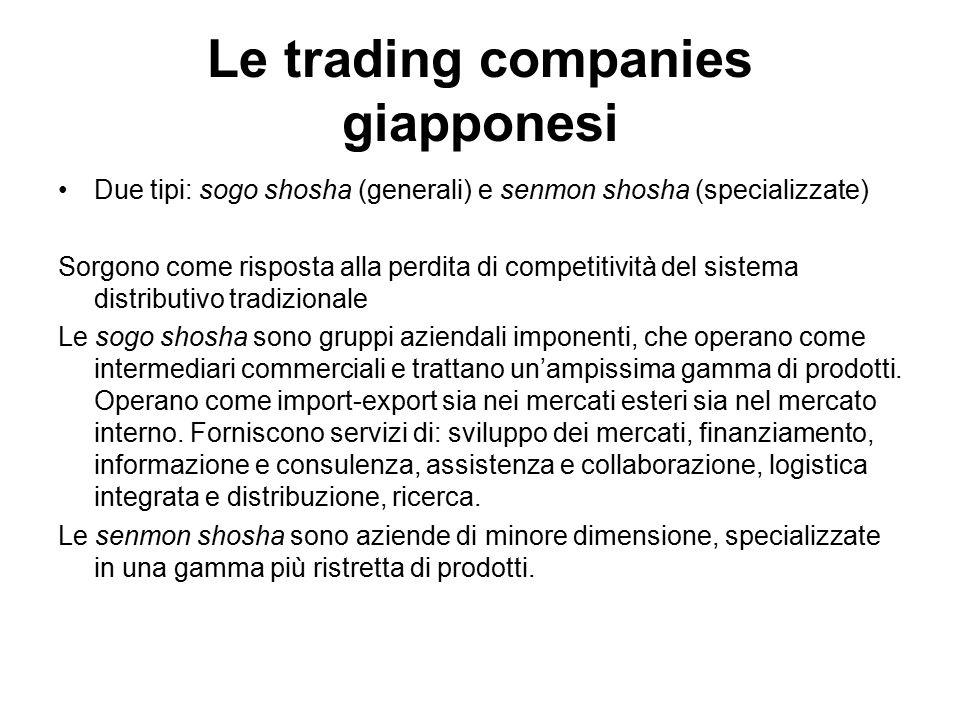 Le trading companies giapponesi Due tipi: sogo shosha (generali) e senmon shosha (specializzate) Sorgono come risposta alla perdita di competitività d