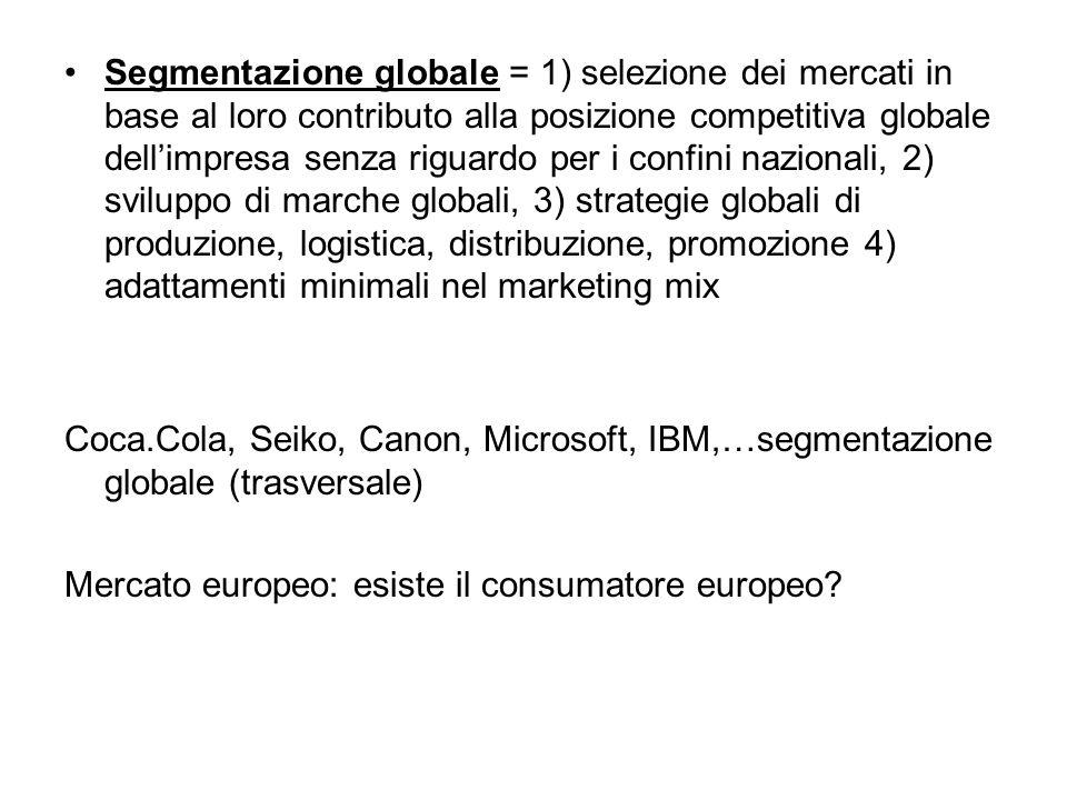 Segmentazione globale = 1) selezione dei mercati in base al loro contributo alla posizione competitiva globale dell'impresa senza riguardo per i confi