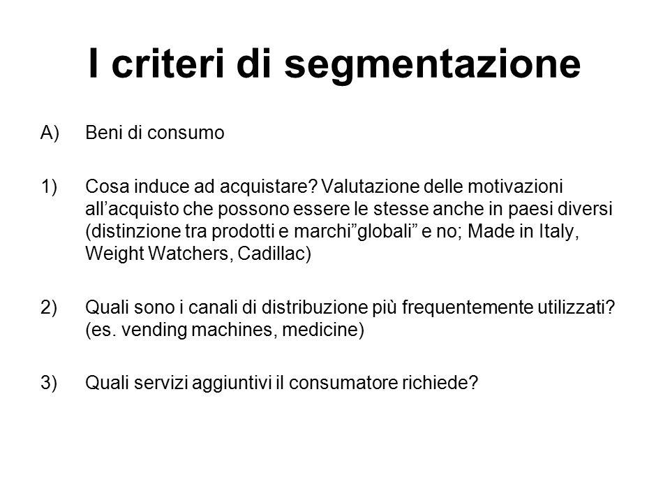 I criteri di segmentazione A)Beni di consumo 1)Cosa induce ad acquistare? Valutazione delle motivazioni all'acquisto che possono essere le stesse anch
