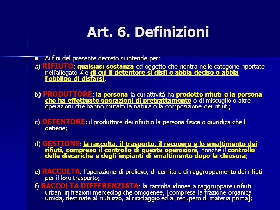 Art. 6. Definizioni Ai fini del presente decreto si intende per: Ai fini del presente decreto si intende per: a) RIFIUTO : qualsiasi sostanza od ogget