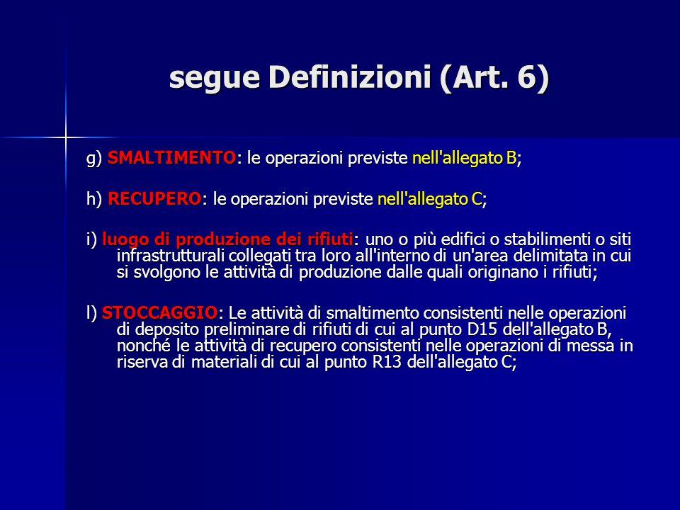 segue Definizioni (Art. 6) g) SMALTIMENTO: le operazioni previste nell'allegato B; h) RECUPERO: le operazioni previste nell'allegato C; i) luogo di pr