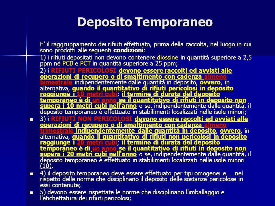 Deposito Temporaneo E' il raggruppamento dei rifiuti effettuato, prima della raccolta, nel luogo in cui sono prodotti alle seguenti condizioni: 1) i r