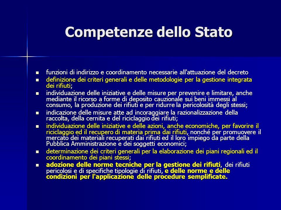 Competenze dello Stato funzioni di indirizzo e coordinamento necessarie all'attuazione del decreto funzioni di indirizzo e coordinamento necessarie al