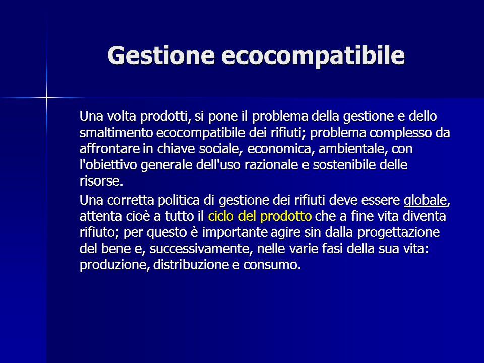 Gestione ecocompatibile Una volta prodotti, si pone il problema della gestione e dello smaltimento ecocompatibile dei rifiuti; problema complesso da a