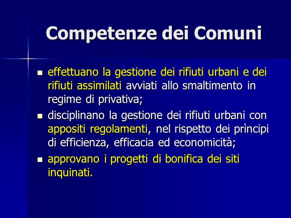 Competenze dei Comuni effettuano la gestione dei rifiuti urbani e dei rifiuti assimilati avviati allo smaltimento in regime di privativa; effettuano l