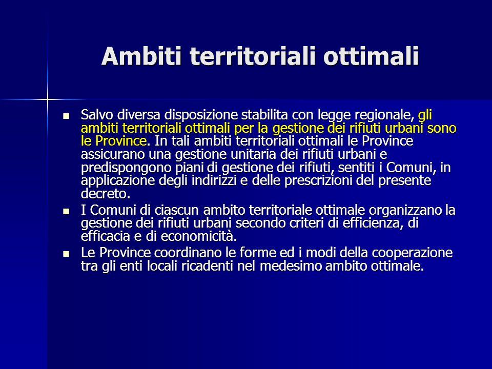 Ambiti territoriali ottimali Salvo diversa disposizione stabilita con legge regionale, gli ambiti territoriali ottimali per la gestione dei rifiuti ur