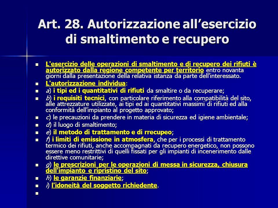 Art. 28. Autorizzazione all'esercizio di smaltimento e recupero L'esercizio delle operazioni di smaltimento e di recupero dei rifiuti è autorizzato da