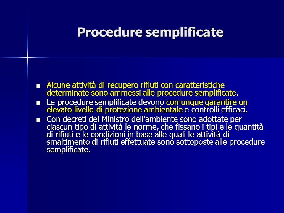 Procedure semplificate Alcune attività di recupero rifiuti con caratteristiche determinate sono ammessi alle procedure semplificate. Alcune attività d
