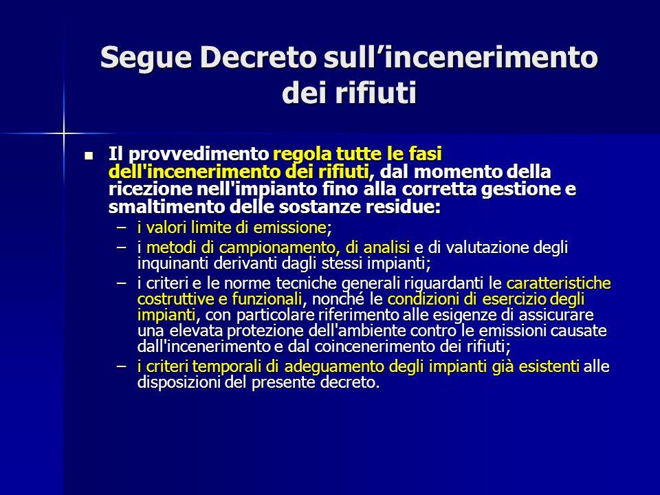 Segue Decreto sull'incenerimento dei rifiuti Il provvedimento regola tutte le fasi dell'incenerimento dei rifiuti, dal momento della ricezione nell'im