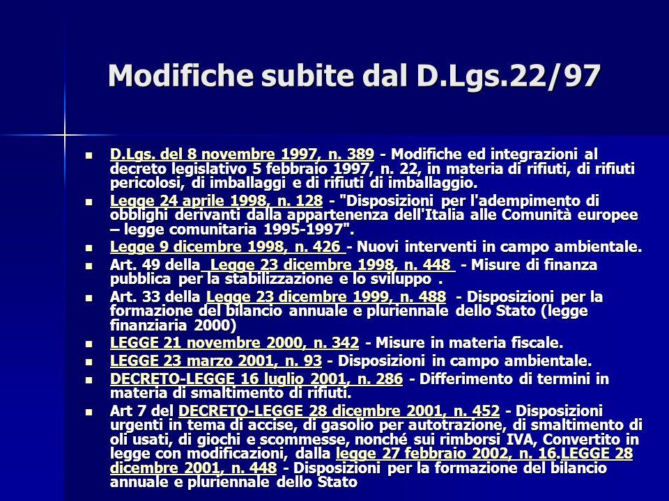 Modifiche subite dal D.Lgs.22/97 D.Lgs. del 8 novembre 1997, n. 389 - Modifiche ed integrazioni al decreto legislativo 5 febbraio 1997, n. 22, in mate