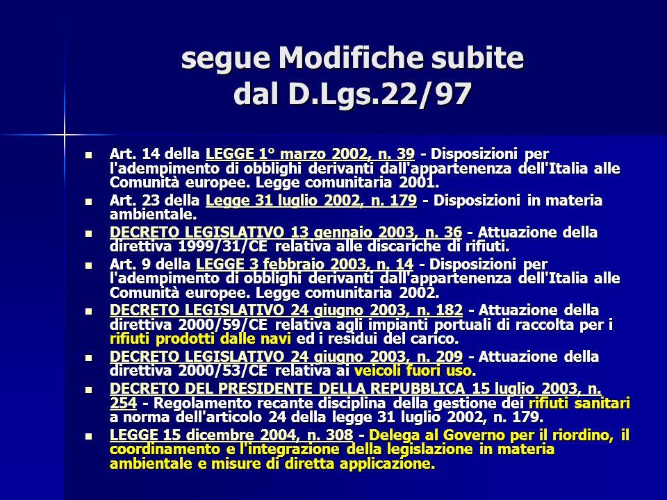 segue Modifiche subite dal D.Lgs.22/97 Art. 14 della LEGGE 1° marzo 2002, n. 39 - Disposizioni per l'adempimento di obblighi derivanti dall'appartenen