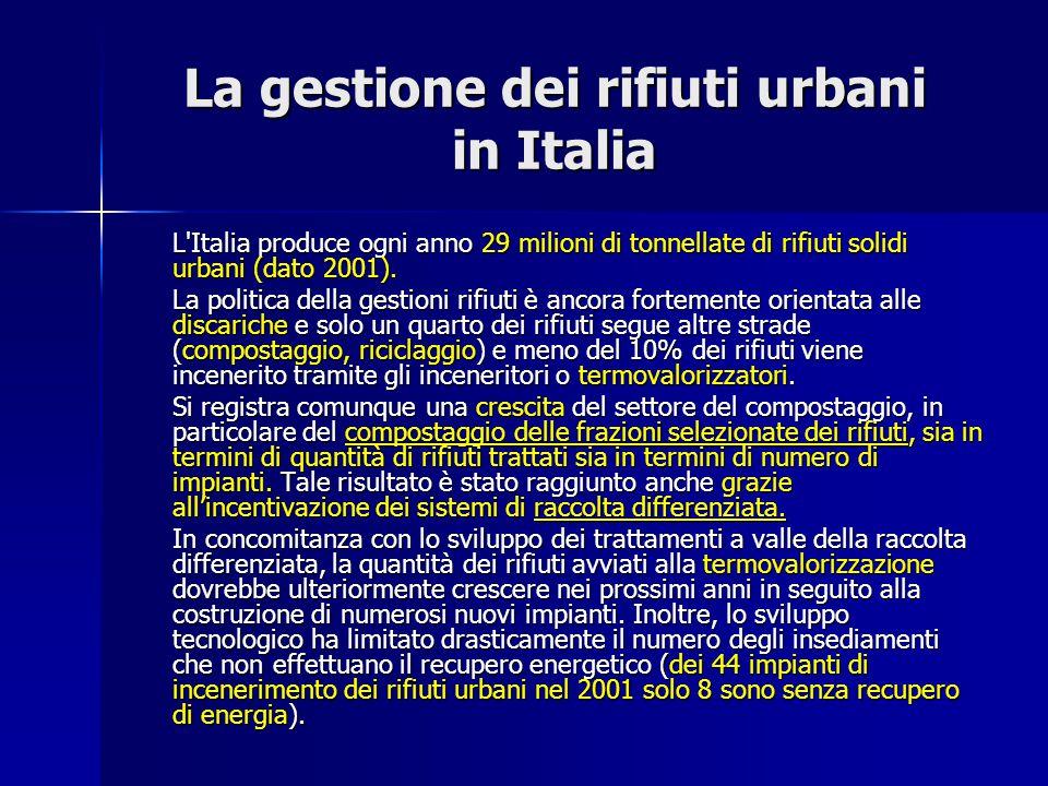 La gestione dei rifiuti urbani in Italia L'Italia produce ogni anno 29 milioni di tonnellate di rifiuti solidi urbani (dato 2001). La politica della g