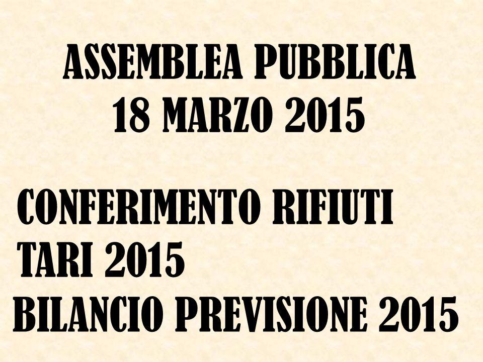 ASSEMBLEA PUBBLICA 18 MARZO 2015 CONFERIMENTO RIFIUTI TARI 2015 BILANCIO PREVISIONE 2015