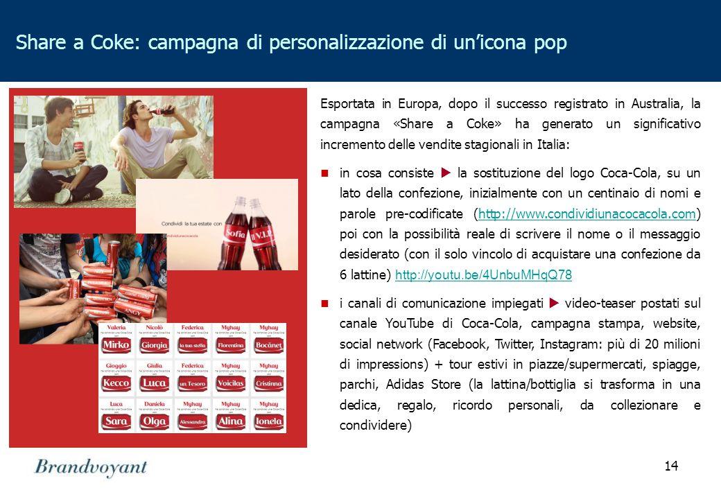 14 Share a Coke: campagna di personalizzazione di un'icona pop Esportata in Europa, dopo il successo registrato in Australia, la campagna «Share a Coke» ha generato un significativo incremento delle vendite stagionali in Italia: in cosa consiste  la sostituzione del logo Coca-Cola, su un lato della confezione, inizialmente con un centinaio di nomi e parole pre-codificate (http://www.condividiunacocacola.com) poi con la possibilità reale di scrivere il nome o il messaggio desiderato (con il solo vincolo di acquistare una confezione da 6 lattine) http://youtu.be/4UnbuMHqQ78http://www.condividiunacocacola.com http://youtu.be/4UnbuMHqQ78 i canali di comunicazione impiegati  video-teaser postati sul canale YouTube di Coca-Cola, campagna stampa, website, social network (Facebook, Twitter, Instagram: più di 20 milioni di impressions) + tour estivi in piazze/supermercati, spiagge, parchi, Adidas Store (la lattina/bottiglia si trasforma in una dedica, regalo, ricordo personali, da collezionare e condividere)