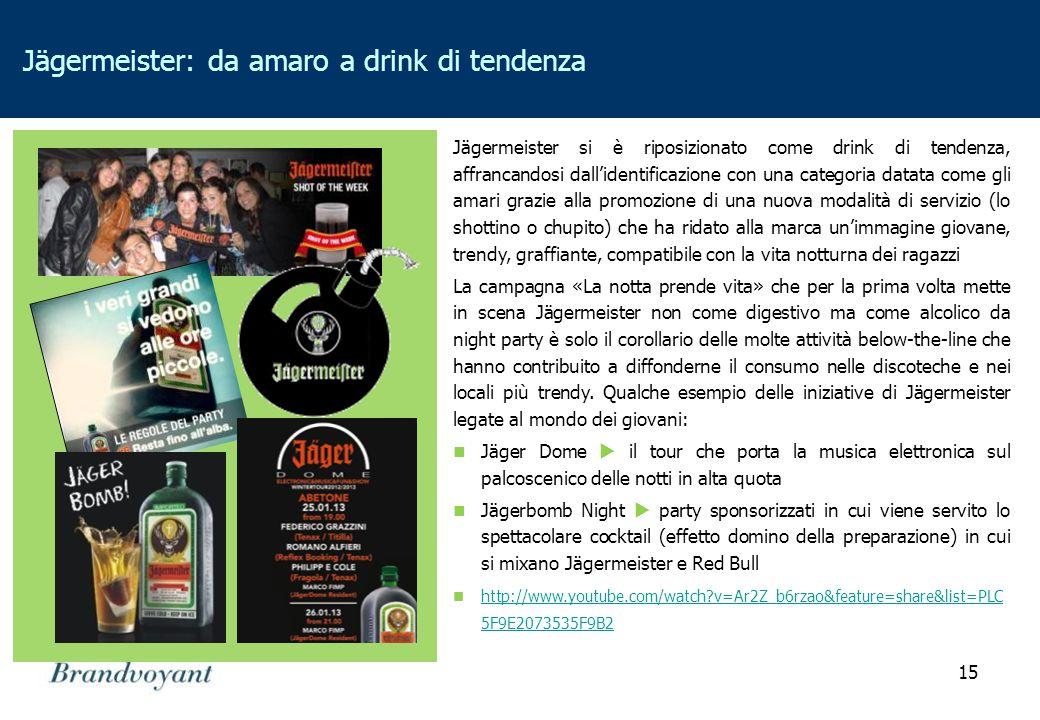 15 Jägermeister: da amaro a drink di tendenza Jägermeister si è riposizionato come drink di tendenza, affrancandosi dall'identificazione con una categ