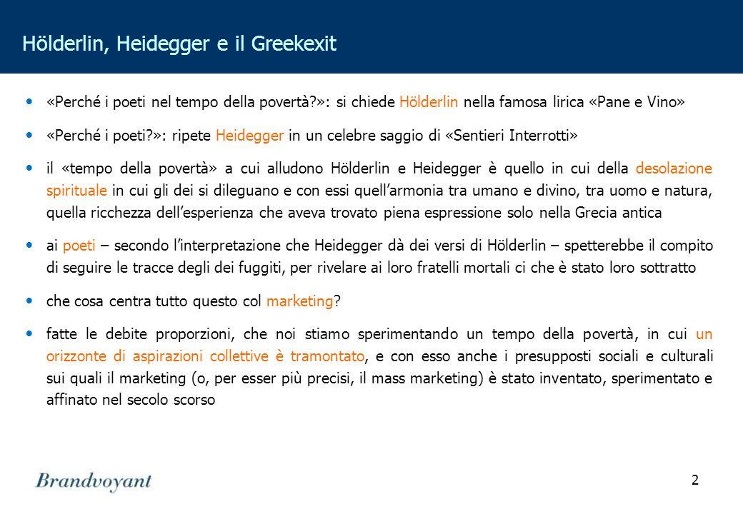 2 Hölderlin, Heidegger e il Greekexit «Perché i poeti nel tempo della povertà?»: si chiede Hölderlin nella famosa lirica «Pane e Vino» «Perché i poeti