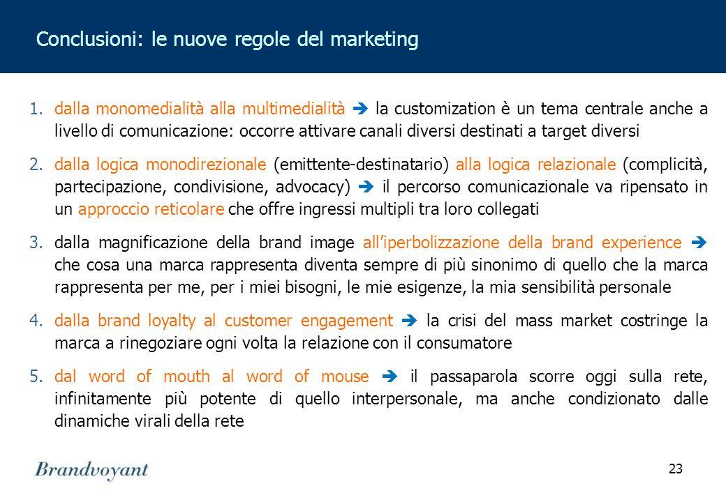 23 Conclusioni: le nuove regole del marketing 1.dalla monomedialità alla multimedialità  la customization è un tema centrale anche a livello di comun