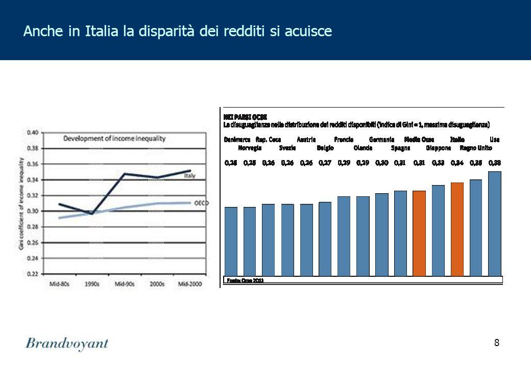 8 Anche in Italia la disparità dei redditi si acuisce