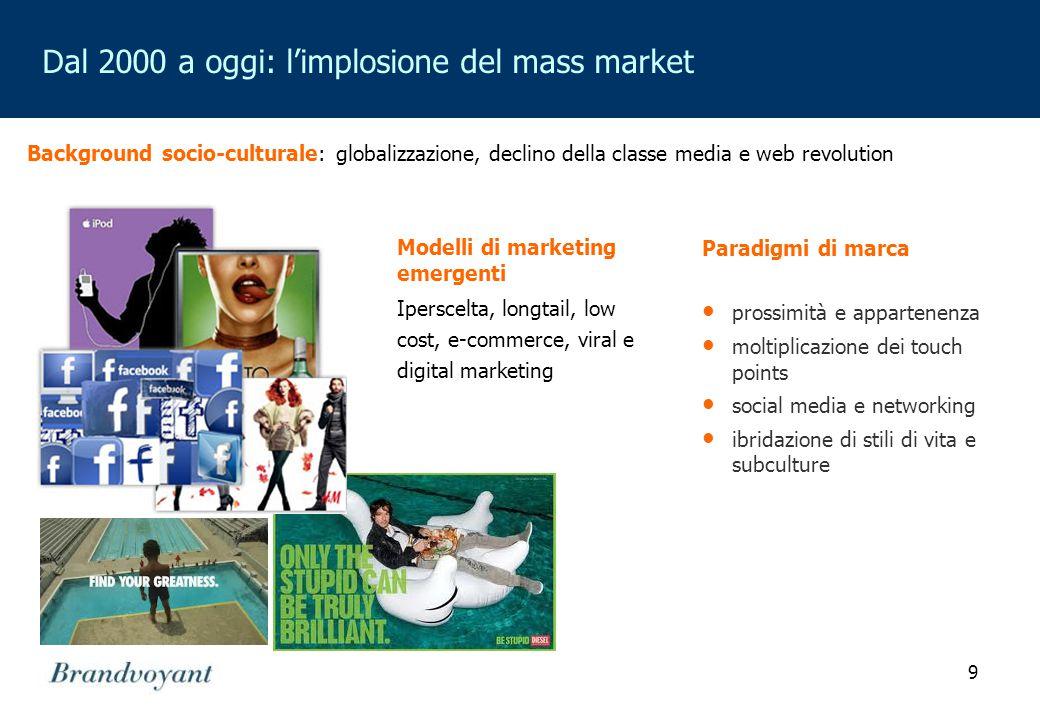 9 Dal 2000 a oggi: l'implosione del mass market Modelli di marketing emergenti Iperscelta, longtail, low cost, e-commerce, viral e digital marketing P