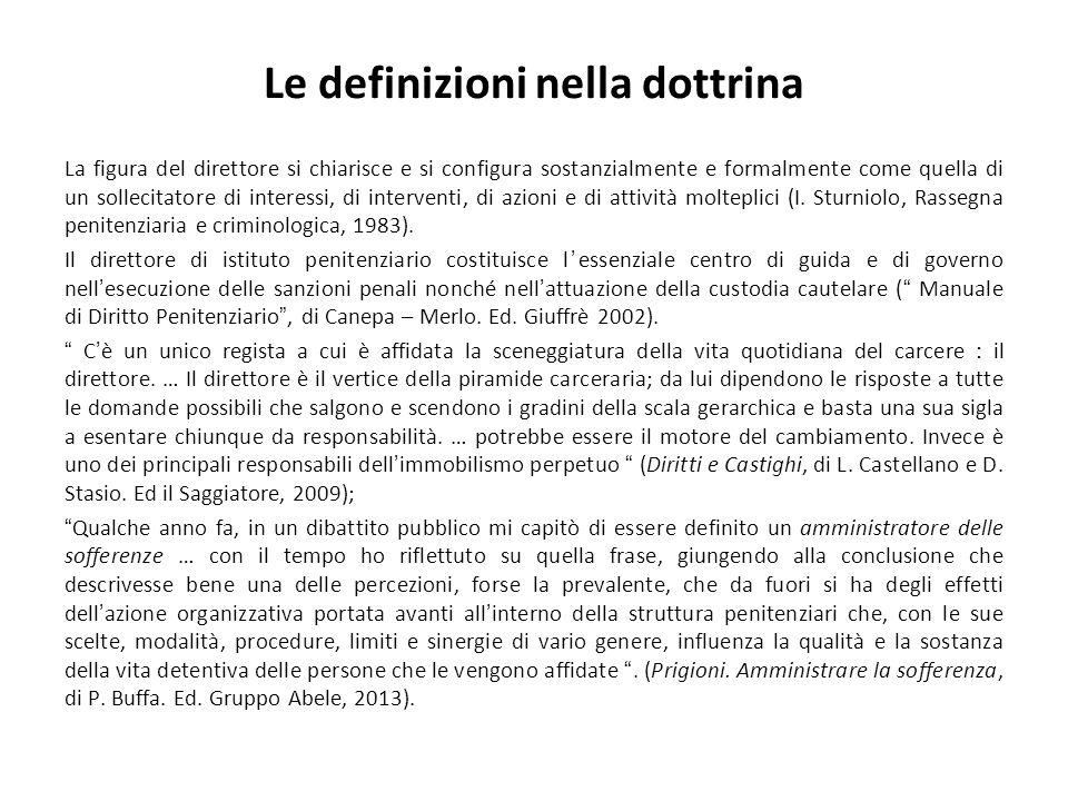 Le definizioni nella dottrina La figura del direttore si chiarisce e si configura sostanzialmente e formalmente come quella di un sollecitatore di interessi, di interventi, di azioni e di attività molteplici (I.