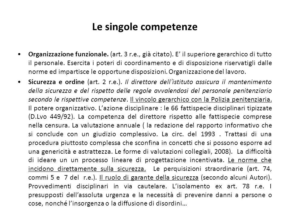 Le singole competenze Organizzazione funzionale. (art.