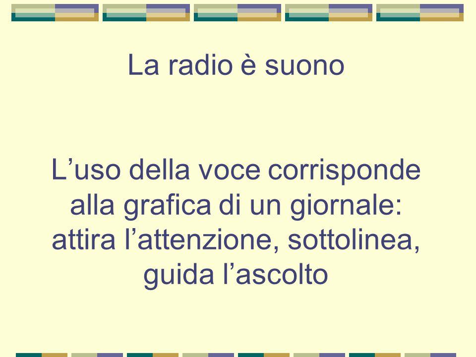 La radio è suono L'uso della voce corrisponde alla grafica di un giornale: attira l'attenzione, sottolinea, guida l'ascolto
