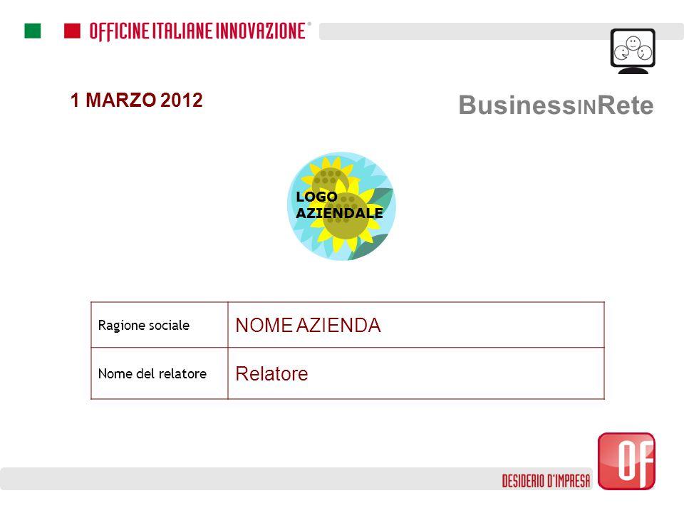 Business IN Rete 1 MARZO 2012 Ragione sociale NOME AZIENDA Nome del relatore Relatore