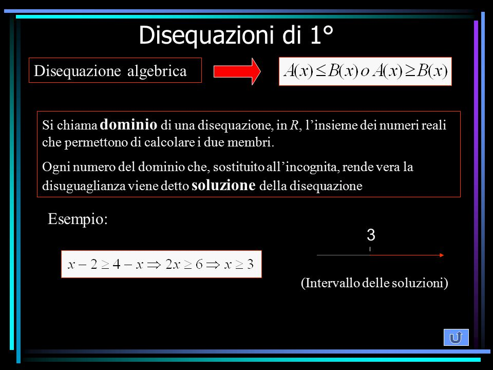 Disequazione algebrica Si chiama dominio di una disequazione, in R, l'insieme dei numeri reali che permettono di calcolare i due membri. Ogni numero d