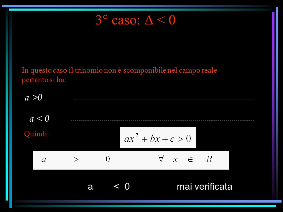 3° caso: Δ < 0 In questo caso il trinomio non è scomponibile nel campo reale pertanto si ha: a >0 a < 0 Quindi: a < 0 mai verificata