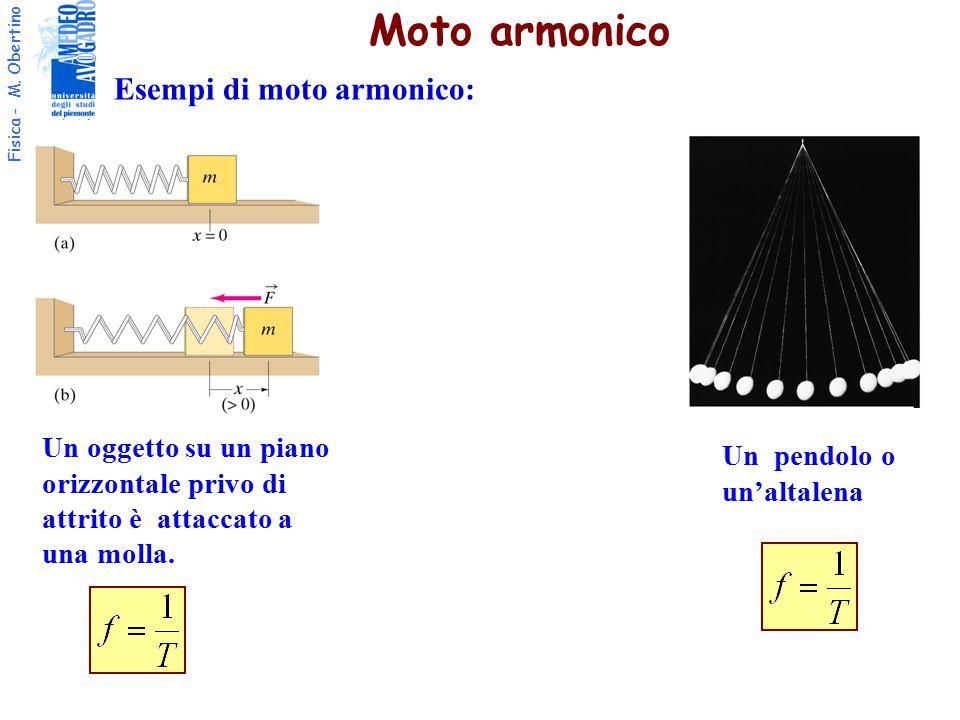 Fisica - M. Obertino Esempi di moto armonico: Moto armonico Un oggetto su un piano orizzontale privo di attrito è attaccato a una molla. Un pendolo o