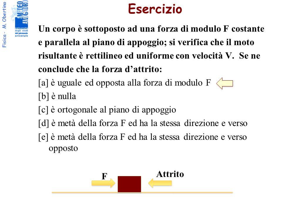 Fisica - M. Obertino Un corpo è sottoposto ad una forza di modulo F costante e parallela al piano di appoggio; si verifica che il moto risultante è re