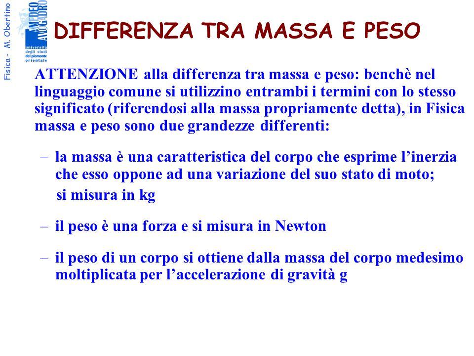 Fisica - M. Obertino DIFFERENZA TRA MASSA E PESO ATTENZIONE alla differenza tra massa e peso: benchè nel linguaggio comune si utilizzino entrambi i te