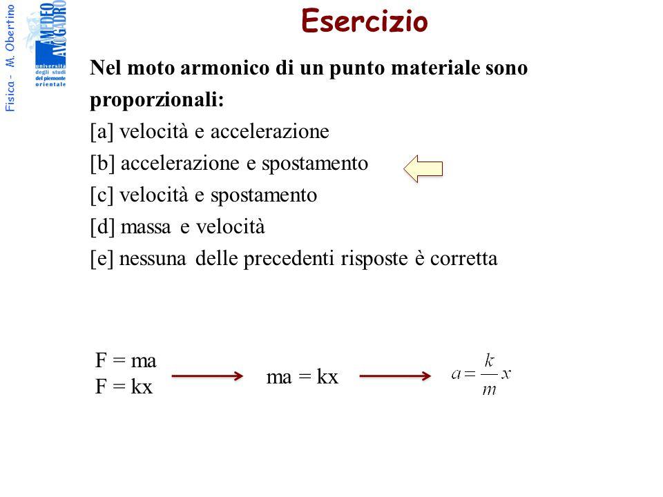 Fisica - M. Obertino Esercizio Nel moto armonico di un punto materiale sono proporzionali: [a] velocità e accelerazione [b] accelerazione e spostament