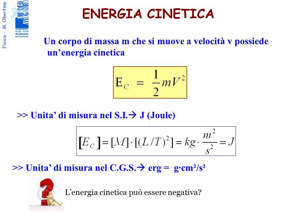 Fisica - M. Obertino ENERGIA CINETICA Un corpo di massa m che si muove a velocità v possiede un'energia cinetica >> Unita' di misura nel S.I.  J (Jou