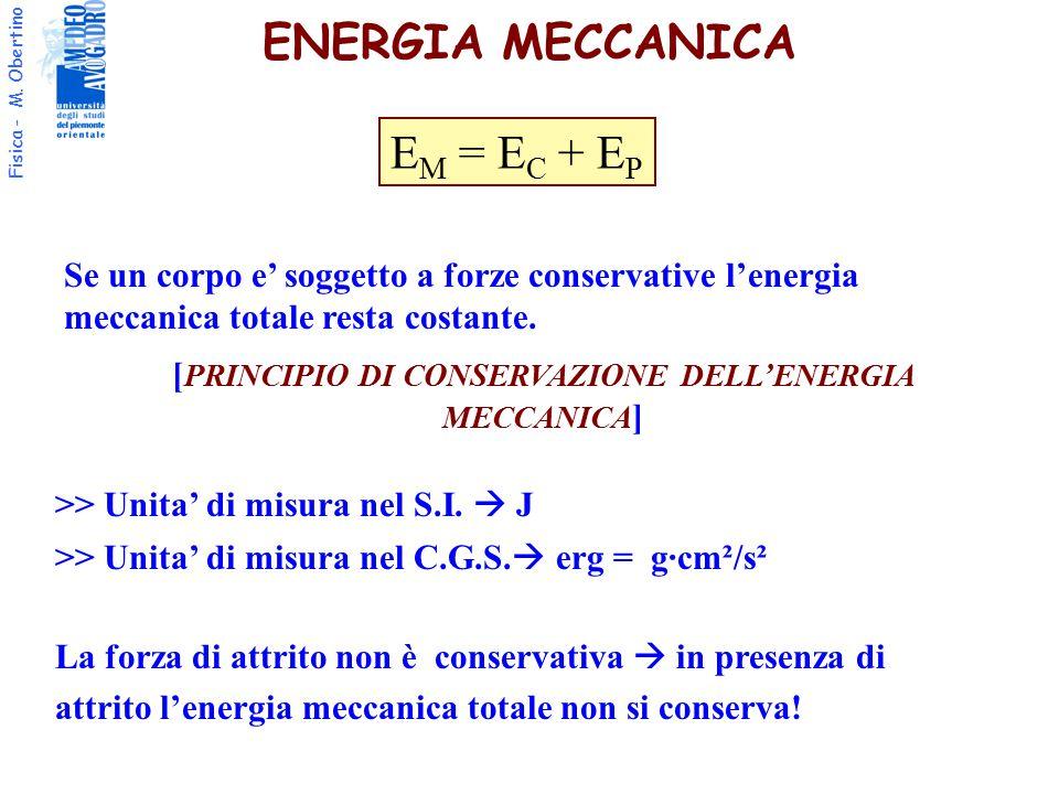 Fisica - M. Obertino ENERGIA MECCANICA >> Unita' di misura nel S.I.  J La forza di attrito non è conservativa  in presenza di attrito l'energia mecc