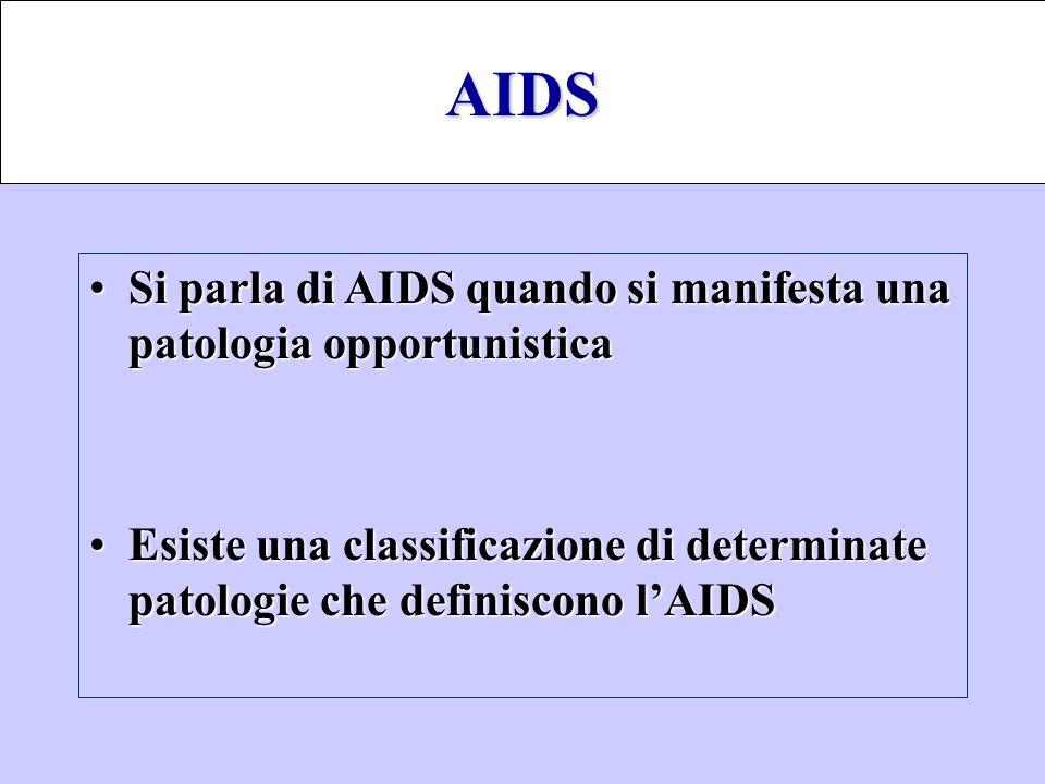 Si parla di AIDS quando si manifesta una patologia opportunisticaSi parla di AIDS quando si manifesta una patologia opportunistica Esiste una classifi