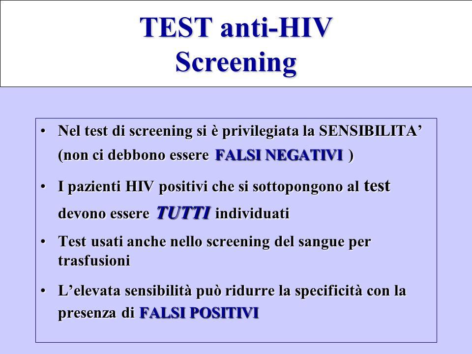 Nel test di screening si è privilegiata la SENSIBILITA' (non ci debbono essereFALSI NEGATIVI )Nel test di screening si è privilegiata la SENSIBILITA'