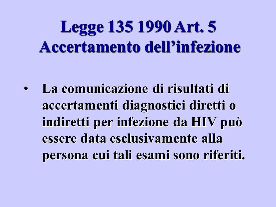 Legge 135 1990 Art. 5 Accertamento dell'infezione La comunicazione di risultati di accertamenti diagnostici diretti o indiretti per infezione da HIV p