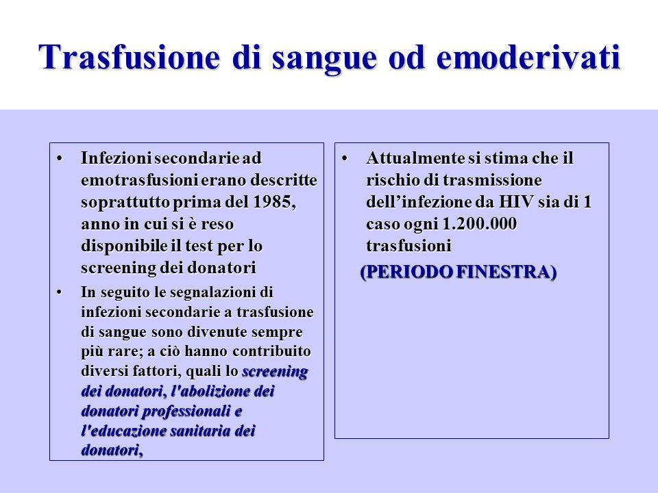 Infezioni secondarie ad emotrasfusioni erano descritte soprattutto prima del 1985, anno in cui si è reso disponibile il test per lo screening dei dona