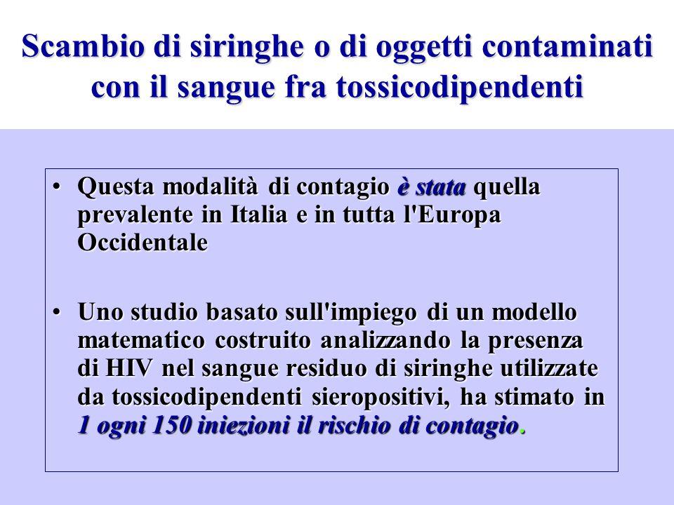 Scambio di siringhe o di oggetti contaminati con il sangue fra tossicodipendenti Questa modalità di contagio è stata quella prevalente in Italia e in