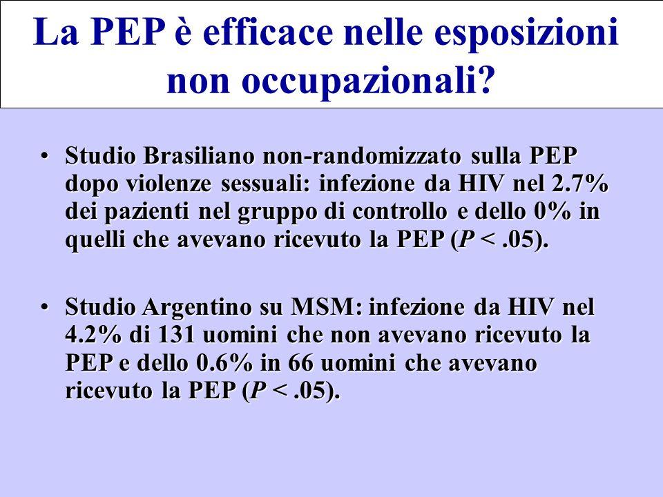 Studio Brasiliano non-randomizzato sulla PEP dopo violenze sessuali: infezione da HIV nel 2.7% dei pazienti nel gruppo di controllo e dello 0% in quel