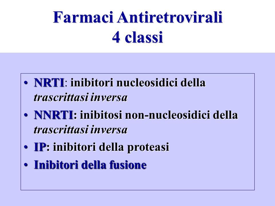 Farmaci Antiretrovirali 4 classi NRTIinibitori nucleosidici della trascrittasi inversaNRTI: inibitori nucleosidici della trascrittasi inversa NNRTI: i