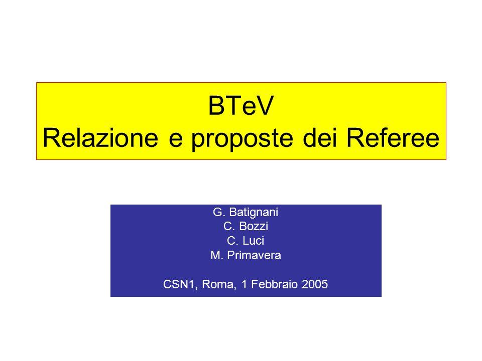 BTeV Relazione e proposte dei Referee G. Batignani C.