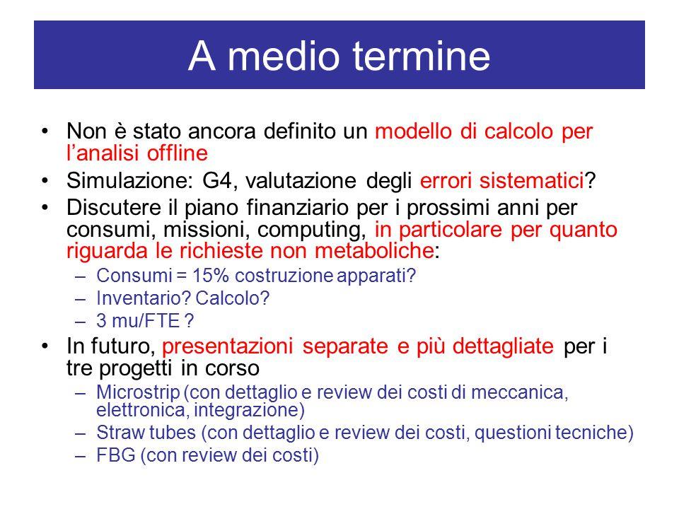 A medio termine Non è stato ancora definito un modello di calcolo per l'analisi offline Simulazione: G4, valutazione degli errori sistematici.