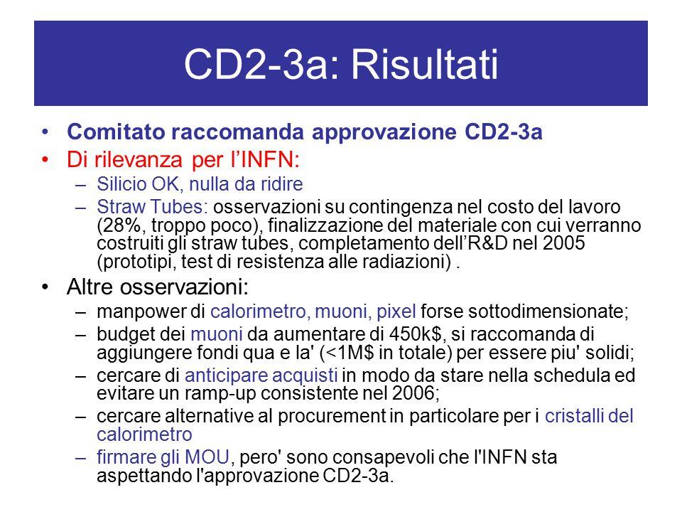 CD2-3a: Risultati Comitato raccomanda approvazione CD2-3a Di rilevanza per l'INFN: –Silicio OK, nulla da ridire –Straw Tubes: osservazioni su contingenza nel costo del lavoro (28%, troppo poco), finalizzazione del materiale con cui verranno costruiti gli straw tubes, completamento dell'R&D nel 2005 (prototipi, test di resistenza alle radiazioni).