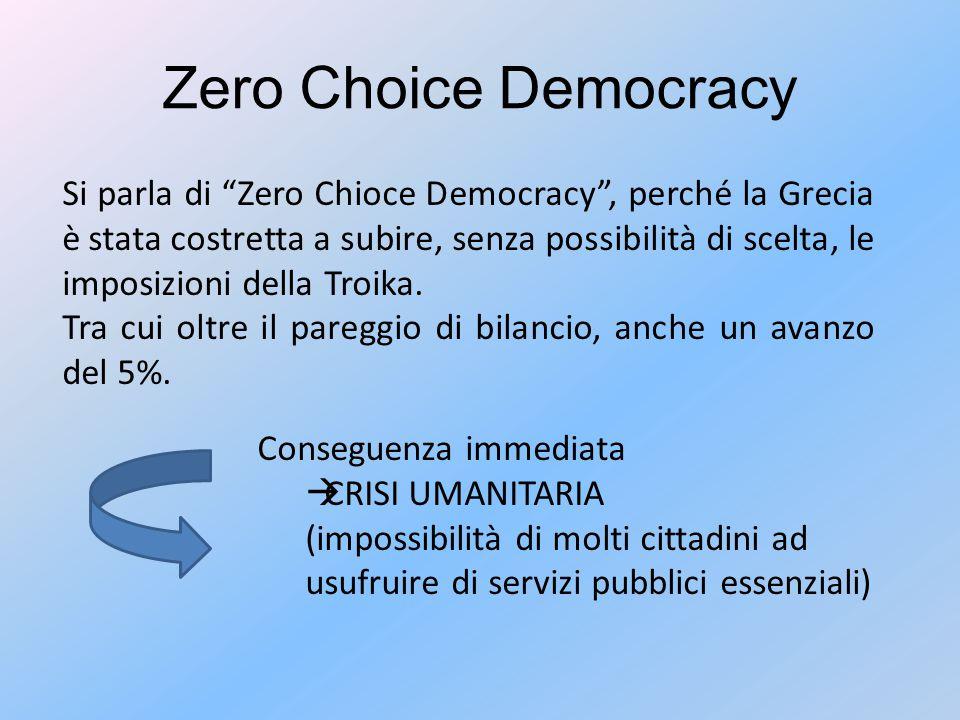 Zero Choice Democracy Si parla di Zero Chioce Democracy , perché la Grecia è stata costretta a subire, senza possibilità di scelta, le imposizioni della Troika.